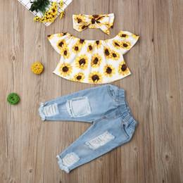 $enCountryForm.capitalKeyWord Australia - 2019 Baby Summer Clothing Fashion Kids Baby Girl Off Shoulder Tops Sunflower Shirt Ripped Denim Jeans 3Pcs Outfits Set 6M-4T