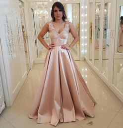 pink princess apple NZ - Arabic Blush Pink Prom Dresses A-line V-neck Lace Princess Prom Evening Gowns Elegant Formal Long Gowns Party Plus Size