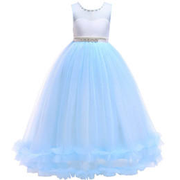 LittLe puffy girL dresses online shopping - Puffy Mesh Princess Dress Wedding Dress Beading Skirt Round Neck Sleeveless Lace Bow bubble Skirt Girl Cute Little Dress