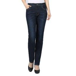 $enCountryForm.capitalKeyWord NZ - Women Casual Denim Straight Pants Dark Blue Jeans Trouser Woman Casual Zipper Fly Pantalones With Elastic Jeans Pant Plus Size