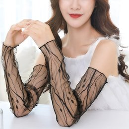 Women's Arm Warmers 38cm Summer Uv Protection Arm Sleeves Women Sexy Black Lace Floral Sleeve Arm Warmers Scar Cover Long Fingerless Driving Gloves