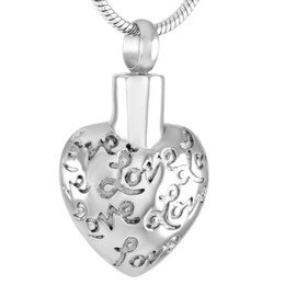 pendant souvenir UK - Stainless Steel Heart Pattern for Ashes Urn Pendant Necklace Cremation Souvenir for Men Women with Chain Jewelry IJD9366