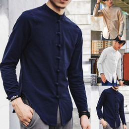wholesale vintage linens Australia - Mens Vintage Solid Chinese Style Shirt Casual Disc Buckle Long Sleeve Linen Camisa Plus Size Ethnic Style Cotton Tops 5XL #Y3