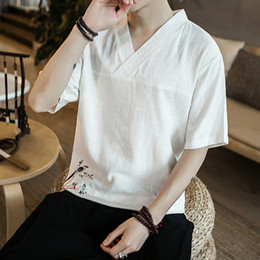 flax clothing NZ - Pop2019 Customs National In Flax Short T Pity Male Will V Lead Chinese Style Cotton On Clothes Men's Wear Thin Hemp Half Sleeve