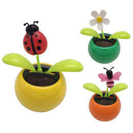 wholesale gifts interiors 2019 - Sun Flower Shaking Head Doll Swing Solar Mini Apple ABS Car Interior Decoration For Gift Auto Accessories discount whole