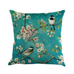 Discount decorative throw pillows birds - European Garden Blue Painting Flower And Bird Cherry Printing Linen Decorative Throw Pillow Cushion For Office Chair