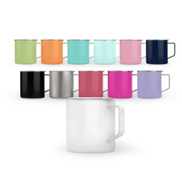 Tumbler Handle NZ - Vacuum Thermos Mug 14oz Stainless Steel Milk Coffee Tumbler Male Female Couple Handle Cup Purple Gray Factory Direct Sales 25hb C1