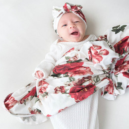 spring patchwork bedding Australia - Swaddle Set Floral Baby Swaddle Blanket And Hat Set Newborn Girl Nursery Bedding Wraps Blankets Soft Cotton Floral Print