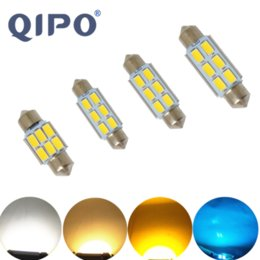 Discount blue festoon bulb - QIPO 1PCS Car Lights Festoon CANBUS 31 36 39 41mm C5W led ERROR FREE 5630 interior reading Warm white yellow ice blue bu
