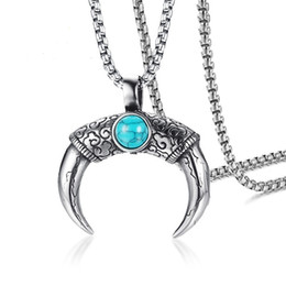Turquoise pendanT necklace for men online shopping - Silver Color Fashion Men s Horn Turquoise Pendant Necklace Stainless Steel Link Chain Necklace Jewelry Gift for Men Boys J1000