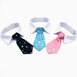 Discount large female dog collars New Dog Grooming Cat Colorful Striped Bow Tie Animal Striped Bowtie Collar Pet Adjustable Neck Tie White Dog Necktie Par