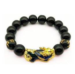 $enCountryForm.capitalKeyWord Australia - HY002 Fashion new design change color pixiu bracelet Six-word Mantra natural stone Beads obsidian Bracelet European Couples charm Jewelry
