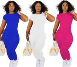 White Letter Print Leggings Australia - Women designer 2 piece set sports suit short cap sleeve crew neck t-shirt bodycon leggings pants print letter summer clothing plus size 373