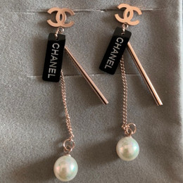 Wholesale 2019 new deluxe High Quality Fashion Design brand titanium steel rose gold pearl wedding drop earrings for Women girls lovers jewelry