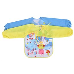 Discount apron children sleeves Baby Aprons Bibs Waterproof Long Sleeve Cute Car Fruit Boys Girls Bibs Kids Burp Cloth Feeding Bib with Pocket Child Apr