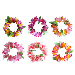 Chinese  Hawaiian Flower Lei Bra Luau Hula Dance Hawaii Bra Summer Holiday Halloween Weeding Costumes Party Dance Dress 6 Colors manufacturers