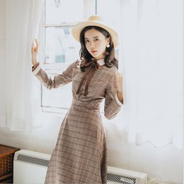 graphic long sleeve dress Australia - wholesale Autumn Winter Women's Literary Retro Temperament Plaid Dress Long-sleeve French Vintage Dresses Brown Graphic Chic Dress