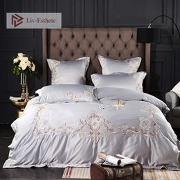 white silk bedding set king Australia - Liv-Esthete Luxury A Silk B Cotton Silky Bedding Set Printed Duvet Cover Bed Sheet Double Queen King Bed Linen For 7 Star Hotel