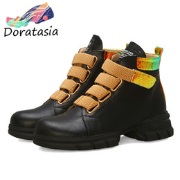 boot hooks 2019 - DORATASIA New Arrival INS Hot Colored Booties Ladies Casual Med Heels Ankle Boots Women 2019 Winter Fur Shoes Woman chea