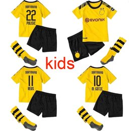 Youth Soccer Uniform Jerseys NZ - Top Thailand KIDS SOCCER JERSEY Borussia Dortmund 19 20 M.GOTZE REUS PULISIC SANCHO 2020 Football kit boys youth children uniform sets