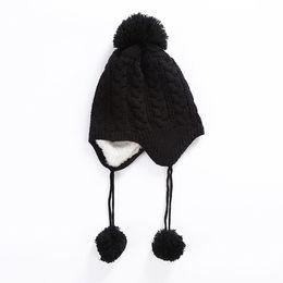 $enCountryForm.capitalKeyWord UK - Autumn Winter Twist Stripe Plus Velvet Earmuffs Ball Cap Boys girls Casual Outdoor Warm Knit Hat