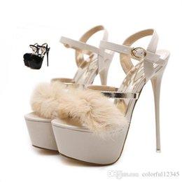 4536ed006 Sexy2019 роскошный мех золото ремешками высокая платформа шпильках каблуки  Леди дизайнер черный бежевый свадебные туфли 17 см летний размер