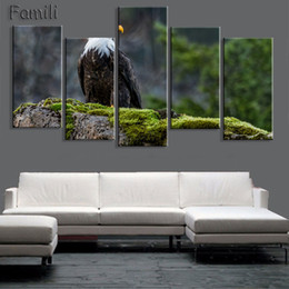 Colorful Bird Paintings Australia - 5Piece Unframed City Silhouette Colorful Bird Canvas Painting Poster Abstract Animal Spray Painting Bedroom Studio Wall Pictures