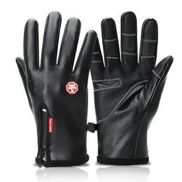 Leather Gloves For Men Australia - Windproof Leather Ski gloves Cold protection Touch screen warm Non-slip gloves for men women Thickening fleece Waterproof zipper