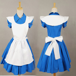 blue latex costume 2019 - Accessories Cosplay Costumes Alice in Wonderland Movie Blue Cosplay Costume Outfit Suit Maid Dress Apron Hot For Haloowe