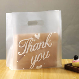 plastic cake packaging UK - 50pcs Thank You Plastic Gift Bags Pastry Cooking Bread Cake Packaging Bags Plastic Shopping Wedding Party Favor Bag Large