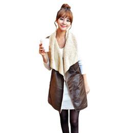 Discount long suede vest - Winter Fashion Fleece Long Vest female Waistcoat Women Vest Coat Suede Faux Fur Lapel Sleeveless Jacket Outerwear Coffee