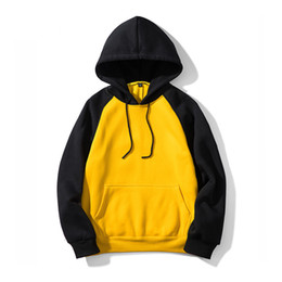 yellow men pullover Canada - Hoodies Men 2019 Sweatshirts Sport Jacket Hoodies Casual Sweatshirts Long Sleeve Pullover Tops Patchwork Overcoat Big Sizes Black Yellow
