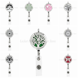 Wholesale Tree of life Student Card Nurse mm Staiinless Steel ID Badge Holder Retractable Pendant Aromatherapy Essential Oil Diffuser Box Necklace