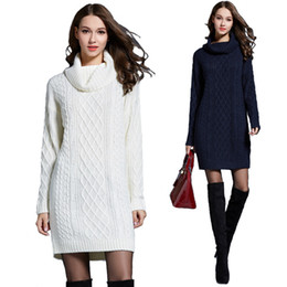 Femmes d'hiver Cachemire Pulls Automne Casual Femmes en tricot Pull Hight qualité Slim long Stretchy Trutleneck Robe pull