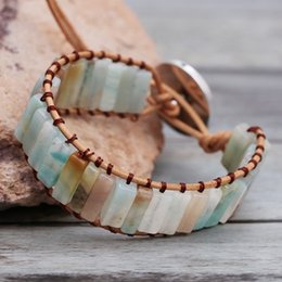Cute stone braCelets online shopping - 2019 Wristband PU Bracelet On the Arm Natural Stone Bracelets Woman Jewelry for Party Cute Leather Bracelet Femme for Friend