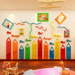frame art for kids Canada - Colored pencils Cartoon 3D Acrylic Wall Stickers For kids room Living room kindergarten Frame decoration DIY art wall decor T200111