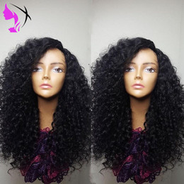 full wig human hair auburn Canada - Hotselling full simulation human hair Kinky Curly Wigs 180 Density Black Color Synthetic Lace Front Hair Wig with Baby Hair for women