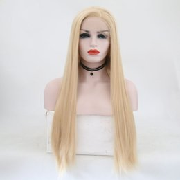 """full lace wigs for white women 2019 - 28"""" Long Blonde Full Lace Front Wigs Straight Synthetic Wigs Free Part Glueless Heat Resistant Fiber Hair Wig for W"""
