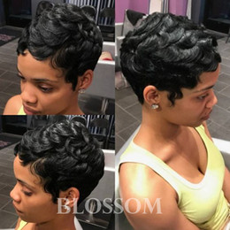 Discount hairstyles for wavy hair bangs - Short Human Hair Wigs Natural Wavy For Black Women Brazilian Pixie Human Hair Lace wigs Full Lace Hair Wigs with Bangs