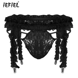 $enCountryForm.capitalKeyWord Australia - Gay Men Lingerie Briefs Sexy Panties with Garter Belt See Through Lace Pouch Ruffled Sissy Bikini Thongs and G-strings Underwear
