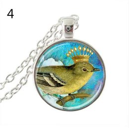 Glasses Face Long Australia - latest new bird with crown photo necklace magpie pendant glass dome animal jewelry long chain necklaces women daily accessories
