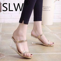 peep toe slipper wedges 2019 - glitter narrow band wedges slides woman two wear peep toe gladiator sandals ladies summer slippers 2019 new style platfo