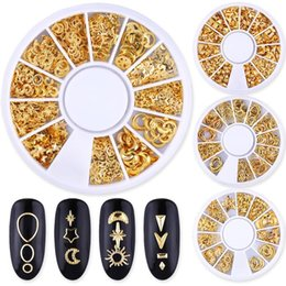 Discount box wheels 1 Box Gold Ocean Theme Metal Studs Sea Starfish Shell Turtle Slice Flakes 3d Nail Art Decoration In Wheel DIY UV Manicur