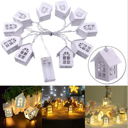 wooden string lights 2019 - 10pcs 2M LED Wooden Christmas Tree House Hanging Fairy String Lights Warm White for Wedding New Year Christmas Decoratio