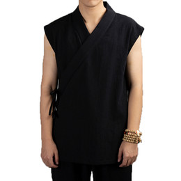 China Traditional Chinese Clothing 2019 Hanfu Men Linen cotton sleeveless Jacket mens tang suit Kimono Cardigan Male Open Stitch Coat cheap black cotton suit mens suppliers