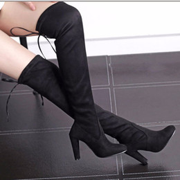 lace red thigh high boots Australia - Fashion Sexy Women Suede Winter Boots Over The Knee Boots Lace Up Thigh High Knee High Snow Boots Women