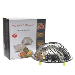 $enCountryForm.capitalKeyWord Australia - 11 Inch Stainless Steel Folding Dish Steamer Basket Mesh Vegetable Vapor Cooker Steamer Expandable Pannen Kitchen Boilers 30 Pieces DHL