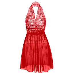 Sexy Babydoll Costume UK - M L XL XXL 3XL 4XL 5XL 6XL Plus Size Sexy Lingerie Women's Erotic Lingerie Babydoll Dress Sexy Costumes Transparent Nightdress