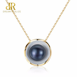 $enCountryForm.capitalKeyWord Australia - Dr Brand 18k Gold Color Charm Shell Design White  Black Pearl S925 Necklaces Natural Pearls Pendant 925 Sterling Silver Necklace J 190429