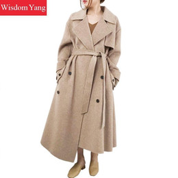 overcoat camel Canada - Winter Warm Coat Beige Khaki Camel Sheep Wool Coats Women Belt Long Oversize Loose Casual Woolen Asymmetrical Overcoat Outerwear